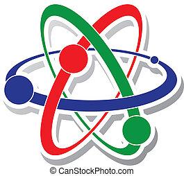 átomo, icono, vector