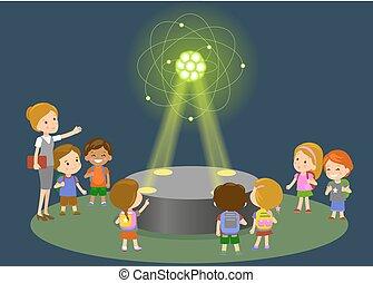 átomo, pessoas, hologram, carbono, crianças, escola, elementar, grupo, lição, física, inovação, aprendizagem, -, futuro, conceito, olhar, tecnologia, educação