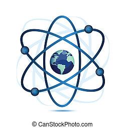 átomo, símbolo, con, un, globo