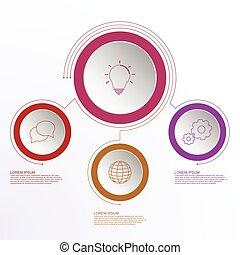 áttekintés, ügy icons, timeline, három, lines., lépések, infographics, összekapcsolt, karika, színes, design.