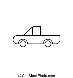 áttekintés, autó, elszigetelt, háttér, fehér, ikon