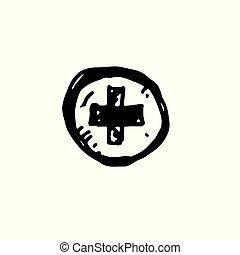 áttekintés, egyszerű, orvosi, kereszt, kéz, vektor, black háttér, húzott, fehér, illustrator., jelkép., ikon