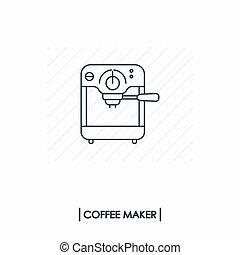 áttekintés, kávécserje maker, elszigetelt, ikon