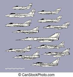 áttekintés, küzdelem, állás, francia, háború, repülőgép, vektor, profiles., planes., rajz