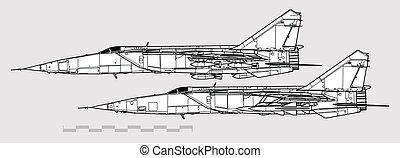 áttekintés, mig-25rb, mikoyan, repülőgép, vektor, profiles., foxbat., rajz