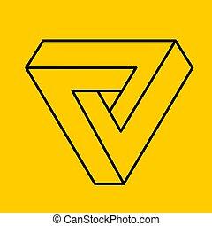 áttekintés, sárga, penrose, triangle., geometriai, 3, cél, látási, illusion.