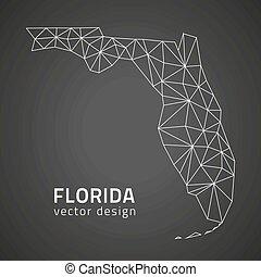 áttekintés, usa, florida térkép, állam, vektor
