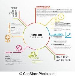 áttekintés, vektor, sablon, társaság, infographic, tervezés