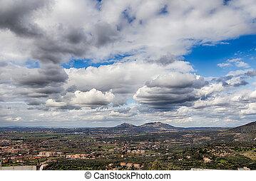 áttekint, panorama., hdr., tivoli, olaszország
