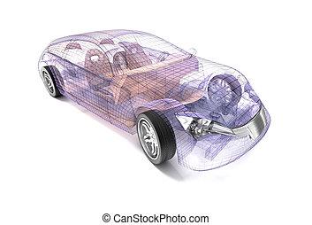 áttetsző, autó, tervezés, drót, model.3d, illustration., az enyém, saját, autó, design.