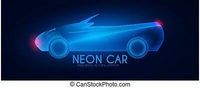 áttetsző, effect., autó, tervezés, fény, cabriolet.