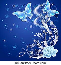 áttetsző, pillangók, noha, rózsa