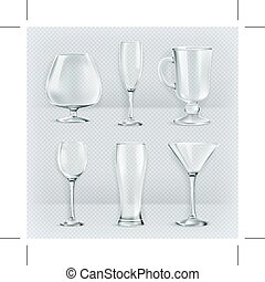 áttetsző, talpas pohár, szemüveg