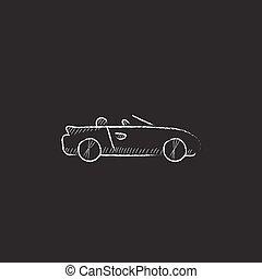 átváltható, autó., húzott, alatt, kréta, icon.