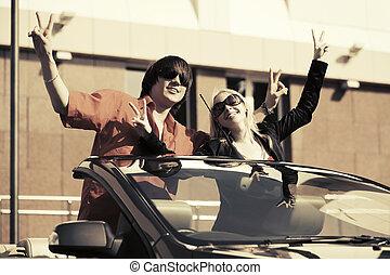 átváltható autó, párosít, fiatal, boldog
