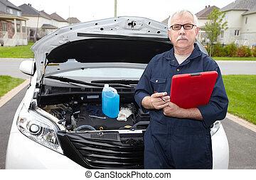 átvizsgálás, autó, engine., szerelő