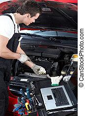 átvizsgálás, autó, oil., szerelő