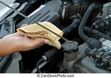átvizsgálás, autó, olaj, szerelő
