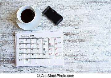 átvizsgálás, havonként, elfoglaltságok, alatt, a, naptár