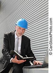 átvizsgálás, menedzser, számítógép, házhely, tervezés