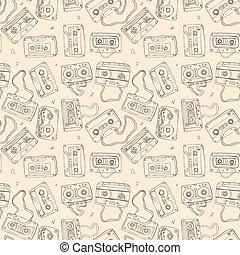 áudio, cassette., seamless, pattern.