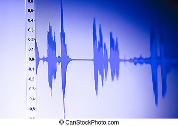 áudio, estúdio, voz, gravando, onda sonora