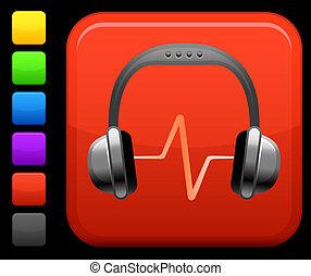 áudio, fones, ícone, ligado, quadrado, internet, botão