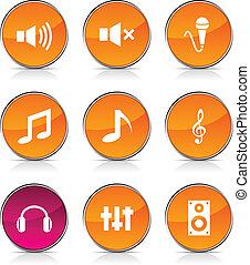 áudio, icons.