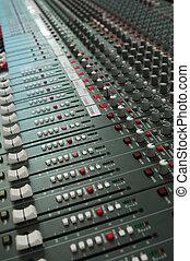 áudio, junta misturando, console