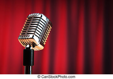 áudio, microfone, contra, a, fundo