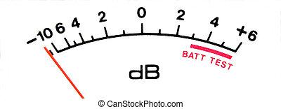 áudio, nível, medidor