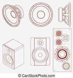 áudio, orador, ícone
