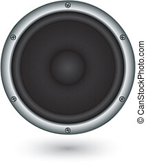 áudio, orador, app, ícone, vetorial, illu