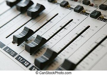 áudio, painel misturando, 1