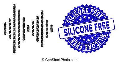 áudio, silicone, selo, mosaico, ícone, textured, sinal,...