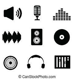 áudio, soe música, ícones
