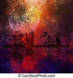 ázsia, táj, textured, festmény