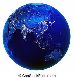 ázsia, térkép, fehér, elszigetelt