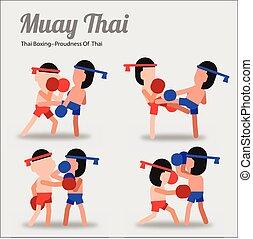 ázsia, thai ember, muay, thai ember, művészet, ábra, aktív, ökölvívás, vektor, version., karikatúra, suitable, tervezés, küzdelem, póz