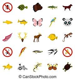 ázsiai, állatok, ikonok, állhatatos, lakás, mód