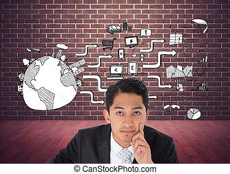 ázsiai, összetett, üzletember, kép, hegyezés, figyelmes