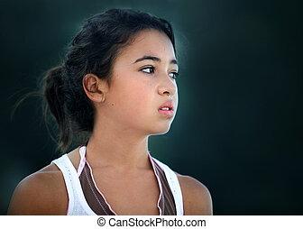 ázsiai, boldogtalan, tízenéves lány