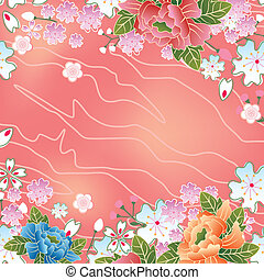 ázsiai, cseresznye virágzik, keret