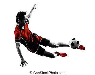 ázsiai, futball játékos, fiatalember, árnykép