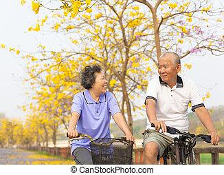 ázsiai, idősebb ember, vidám párosít, bicikli elnyomott, liget
