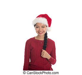 ázsiai, karácsony, leány
