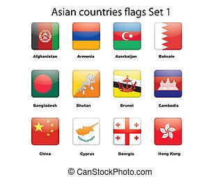 ázsiai, országok, zászlók, állhatatos, 1