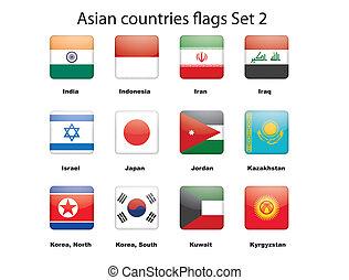 ázsiai, országok, zászlók, állhatatos, 2