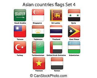 ázsiai, országok, zászlók, állhatatos, 4