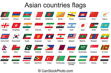 ázsiai, országok, zászlók, ikonok